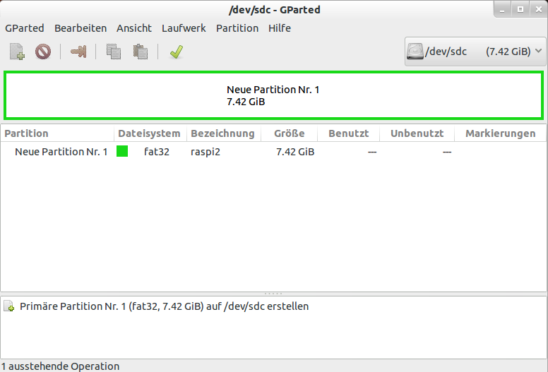 GParted Partition Filesystem waehlen