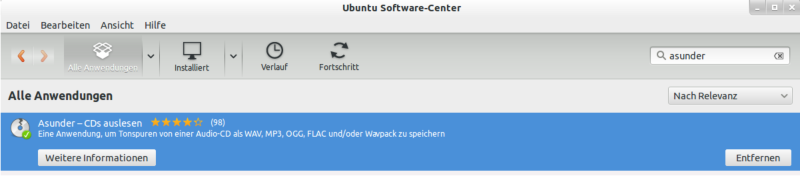 Softwarecenter Asunder